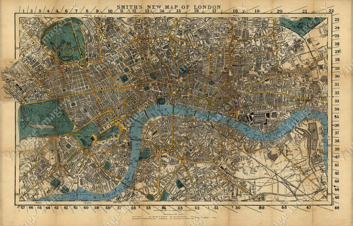 Giant Historic London England Map 1860 Restoration Hardware Style Wall  London Street Map fine art Map Of London poster print Giant Historic London England Map 1860 Restoration Hardware Style Wall  London
