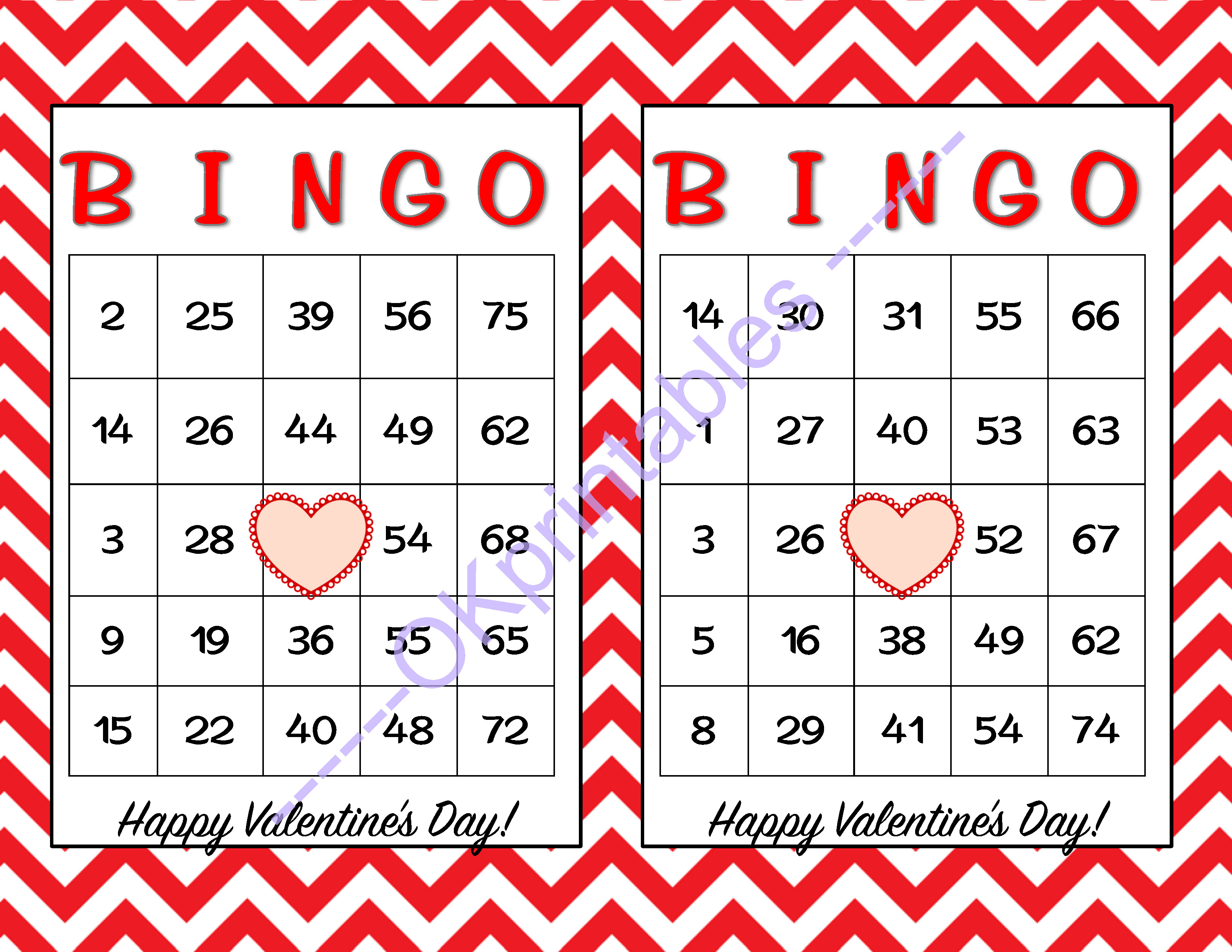 60 Happy Valentines Day Bingo Cards