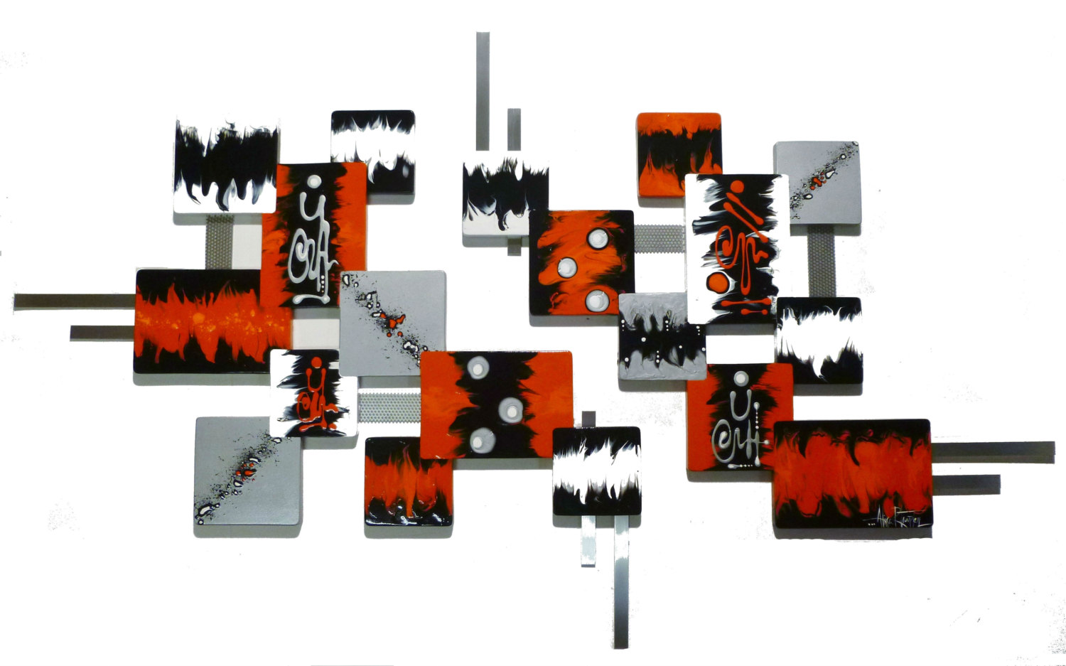 JUMBO Orange Contemporary Modern Abstract Square By