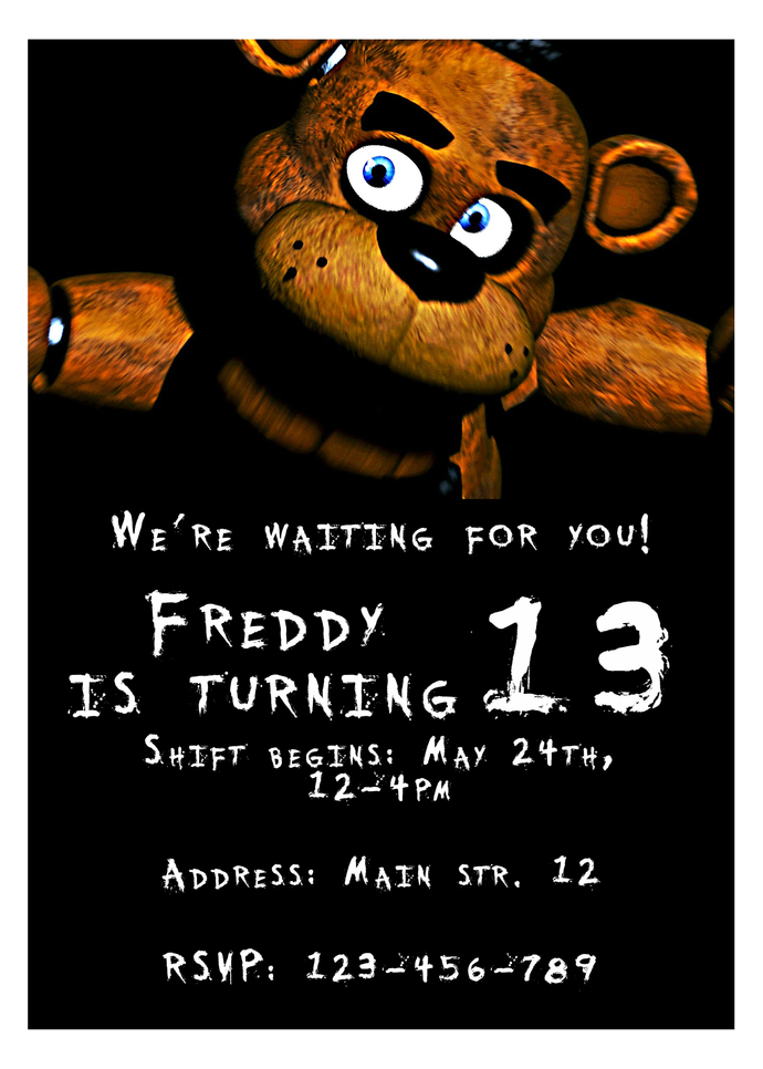 five nights at freddy s personalized invitation five nights at freddy s birthday invitation 5 nights at freddy s party printable supplies