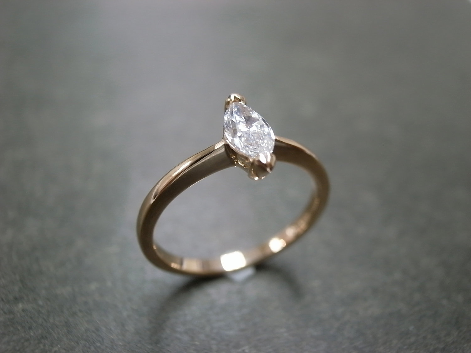 Marquise Diamond Engagement Ring In 18K Rose By HN Jewelry