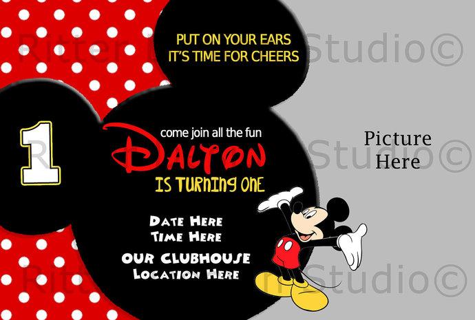 Mickey Mouse Birthday Invitation Ritterdesignstudio