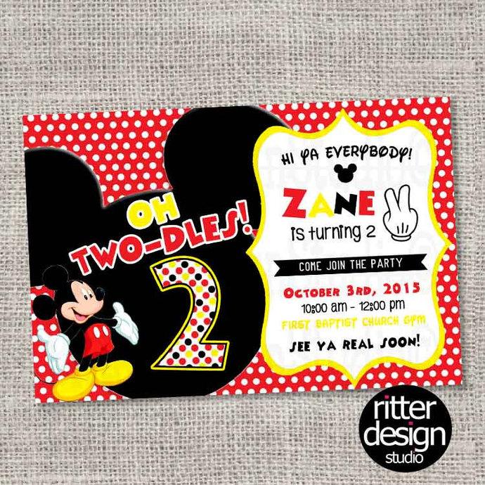 Mickey Mouse 2nd Birthday Invitation By Ritterdesignstudio On Zibbet