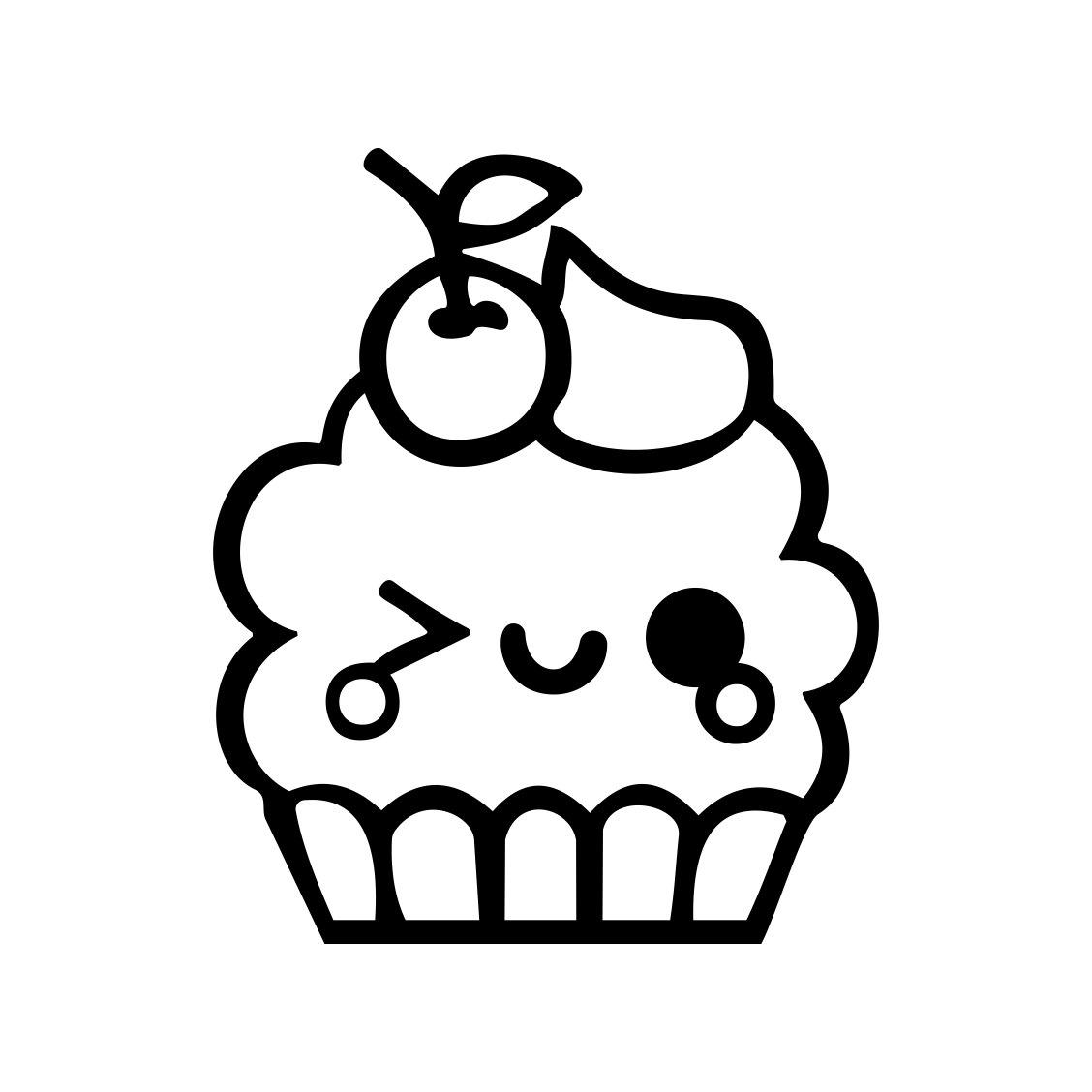 Cute Kawaii Cupcake Graphics Design Svg Eps By