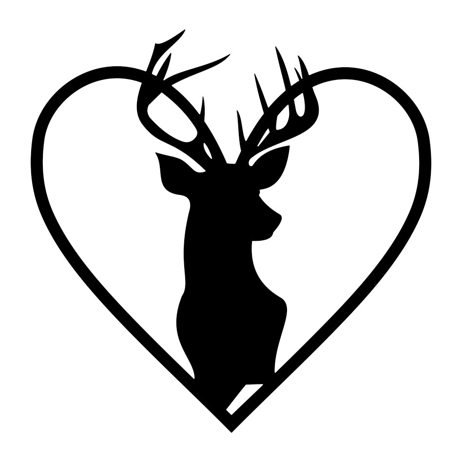 Download Stag Head Heart Deer graphics design SVG DXF | vectordesign