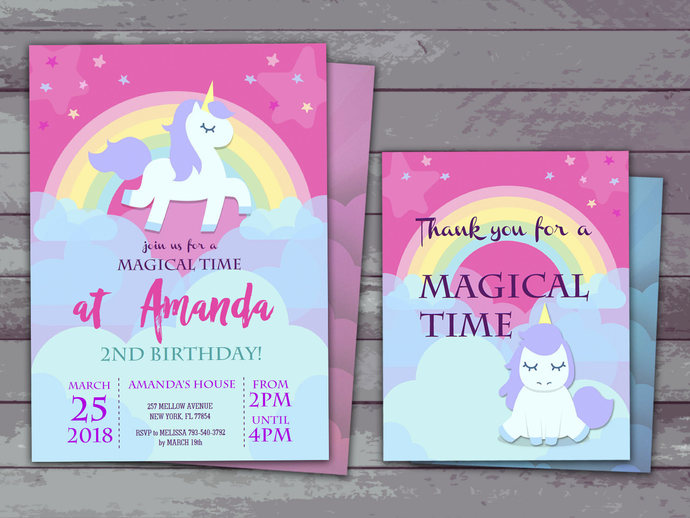 unicorn party invitation and thank you card unicorn birthday unicorn themed party instantly download and edit at home with adobe reader