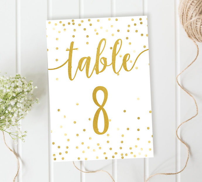 Wedding Table Numbers Gold Table Numbers Reception Confetti Table Numbers Diy Wedding Printable Table Numbers Rustic Wedding