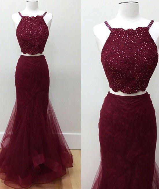 Long Dresses Wine Colored Bridesmaid