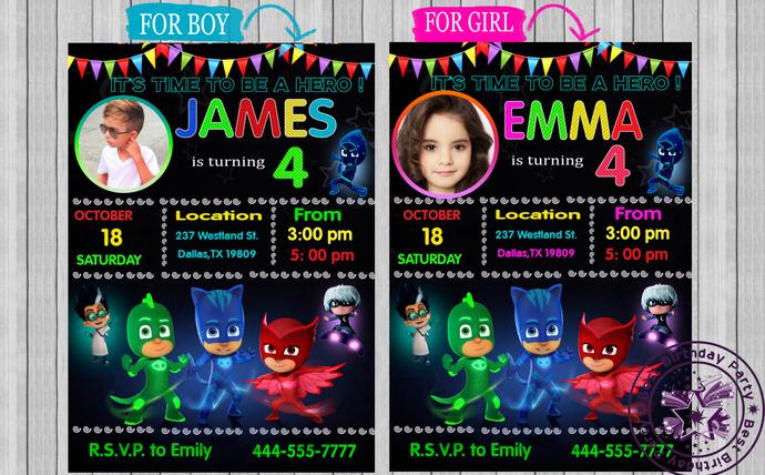 Pj Mask Birthday Invitation Pj Masks Bestbirthdayparty