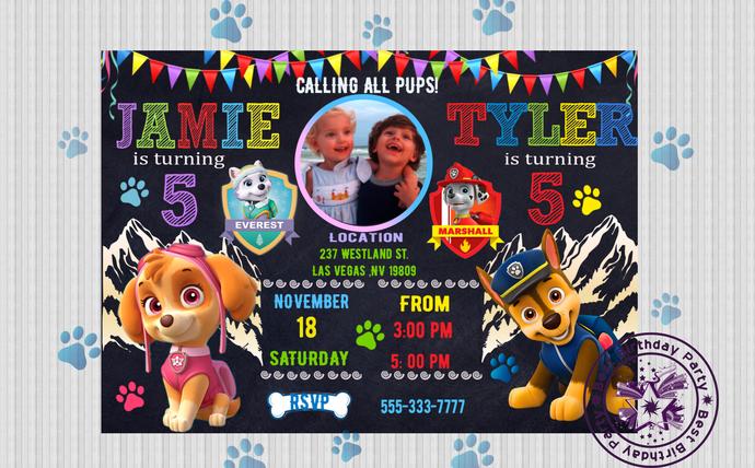 paw patrol twin birthday invitation paw patrol twin invitation paw patrol sibling birthday invitation paw patrol invite paw patrol party
