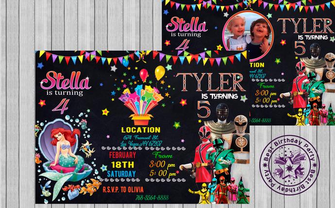 marmeid and power rangers birthday invitations combination birthday invitations double birthday invitation sibling birthday invitations