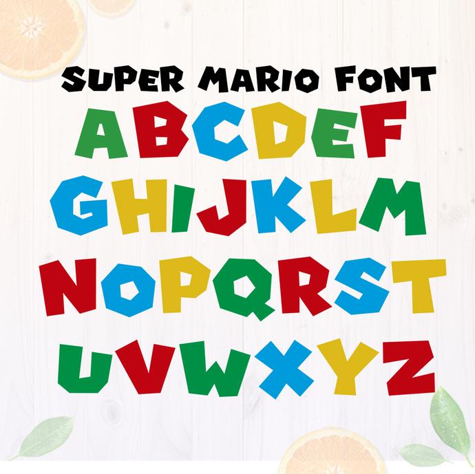 Super Mario Font Cut Files Mario Alphabet Svg By Orangecut On Zibbet