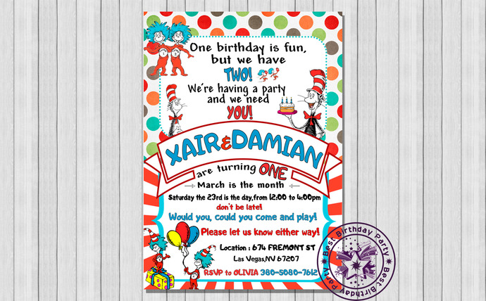 Dr Seuss Twins 1st Birthday Invitations By Bestbirthdayparty On