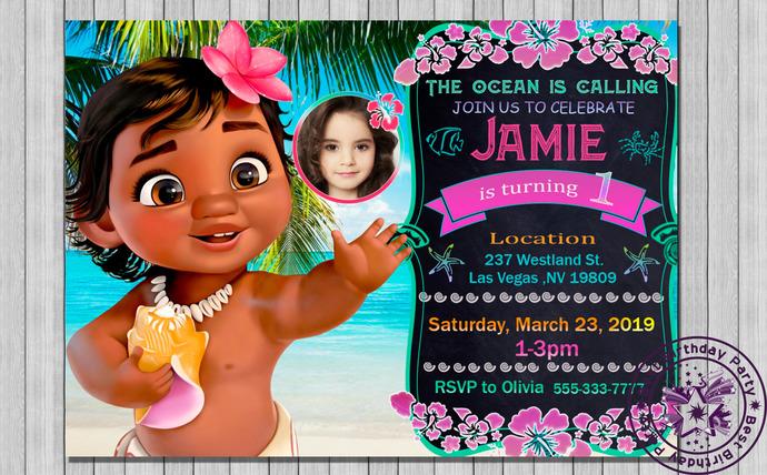 baby moana party invitations baby moana party theme baby moana 1 st birthday baby moana 1 st birthday invitations baby moana 1 st bday