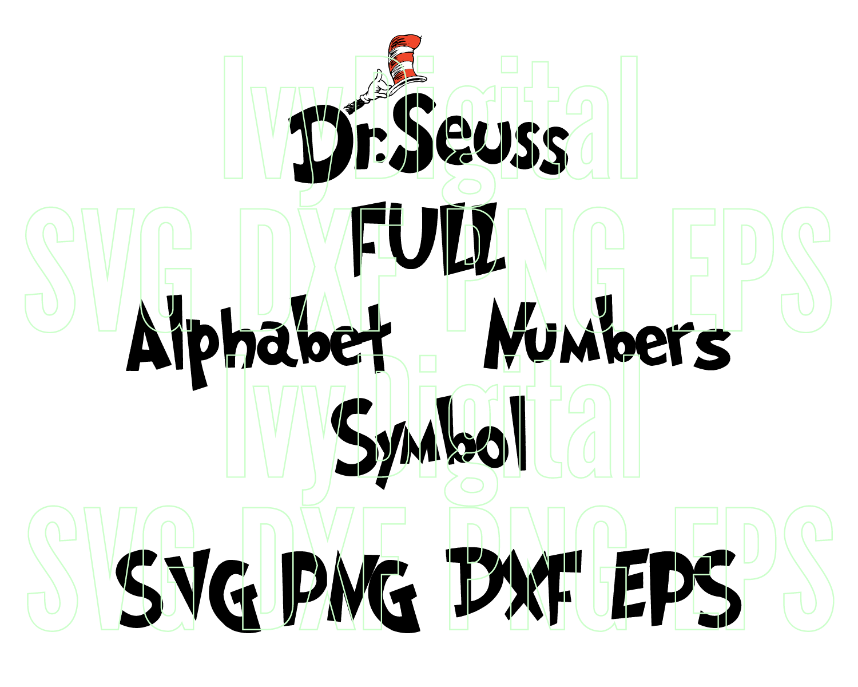 Dr Seuss Font Svg Alphabet The Cat In Hat By Lloyd Shop On