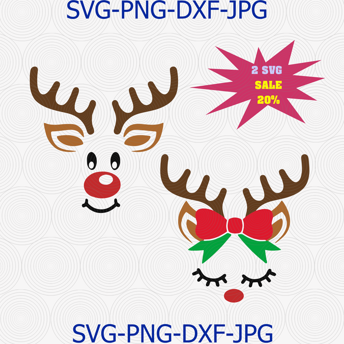 Download Reindeer face Svg for Cricut Silhouette Iron on by ...