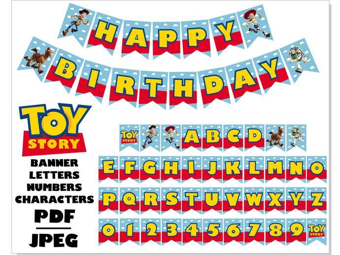 Toy Story Birthday Printable Banner Pdf Jpeg By Hotfont On Zibbet