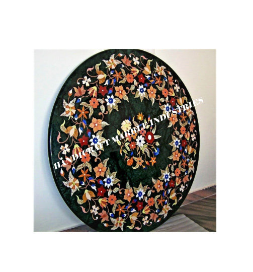 36 inch round marble center table pietra dura pattern inlay floral marquetry design patio table outdoor table garden table