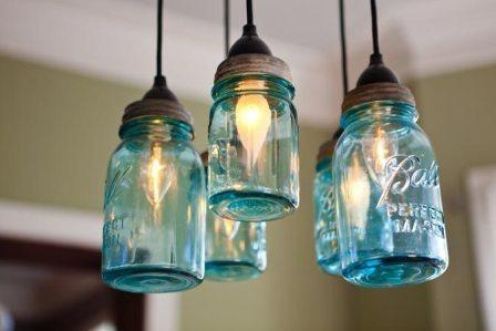 Mason Jar Chandelier Hanging Light Fixture By