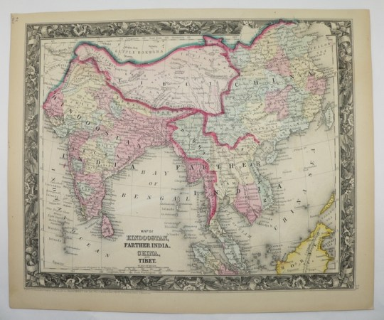 India Tibet Nepal China Antique 1860 Map Anam Vietnam Cambodia Burma Siam  Cochin Thailand Laos Malaysia Handcolored Color Mitchell Map India Tibet Nepal China Antique 1860 Map Anam Vietnam Cambodia Burma Siam  Cochin