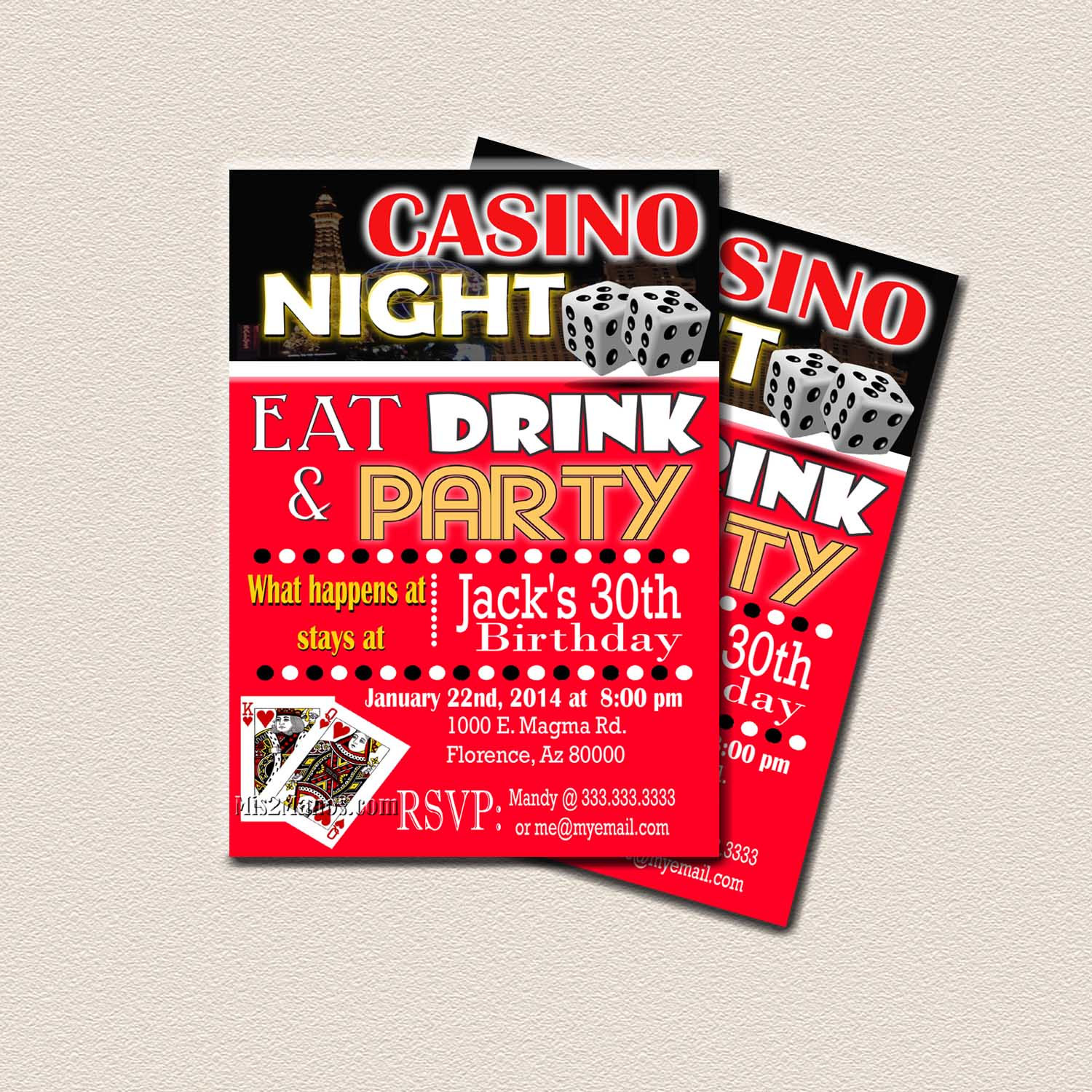 casino theme party surprise birthday party printable 30th 40th 50th 60th birthday black gold red