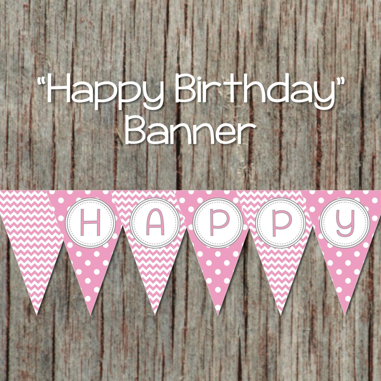Girl Happy Birthday Banner Pink Grey Bumpandbeyonddesigns