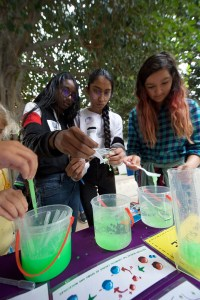 teens playing with slime