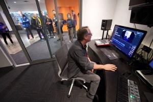 Digital media lab tour shot through editing suite
