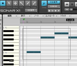 Sonar X1のピアノロールでスマートツールを選択している場合の画面