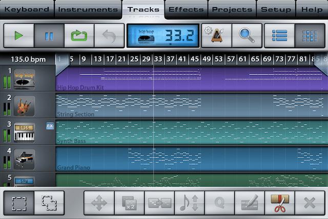 Music StudioのTracks画面でBar Editorを表示