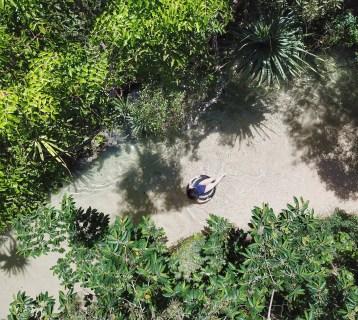 Floating down Eli Creek on Fraser Island