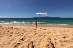 Maui McKenna Beach Danielle Walking Towards Dom