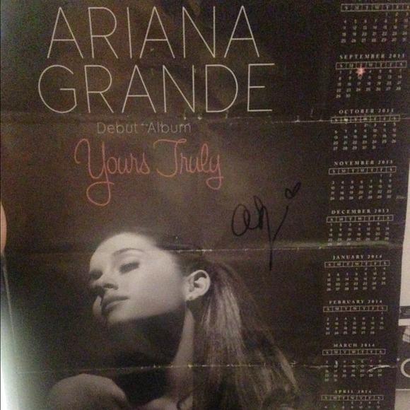 autographed ariana grande tour poster