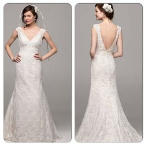 David s Bridal Dresses   All Over Beaded Lace Trumpet Wedding Dress     David s Bridal Dresses   All over beaded lace trumpet wedding dress