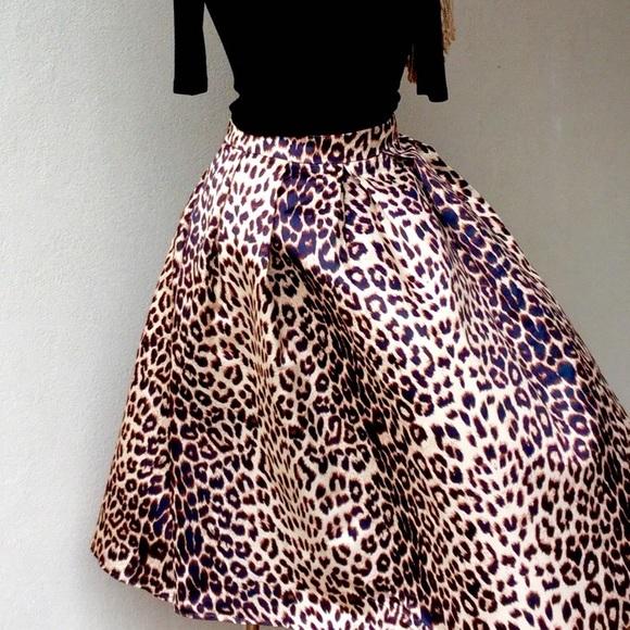 Choies Aline Box Pleat Skater Skirt In Leopard Print