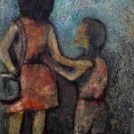 """""""Funny: baby he still was; yet I was not afraid because he was with me."""" 14 of 20 under the theme """"Strange Encounter with the Ancestors"""" by 'oma 'taife. Medium and Technique: """"oil on talking canvas"""" Exhibition premier: Galerie Goethe 53, Munich 1992. Copyright © 2018 'oma 'taife. All rights reserved."""