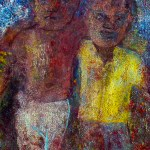 """""""We are all """"Umu-nna"""" (children of the same father)."""" 10 of 20 under the theme """"Strange Encounter with the Ancestors"""" by 'oma 'taife. Medium and Technique: """"oil on talking canvas"""" Exhibition premier: Galerie Goethe 53, Munich 1992. Copyright © 2018 'oma 'taife. All rights reserved."""