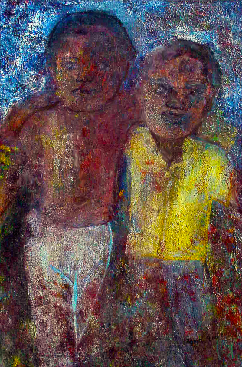 """We are all ""Umu-nna"" (children of the same father)."" 10 of 20 under the theme ""Strange Encounter with the Ancestors"" by 'oma 'taife. Medium and Technique: ""oil on talking canvas"" Exhibition premier: Galerie Goethe 53, Munich 1992. Copyright © 2018 'oma 'taife. All rights reserved."