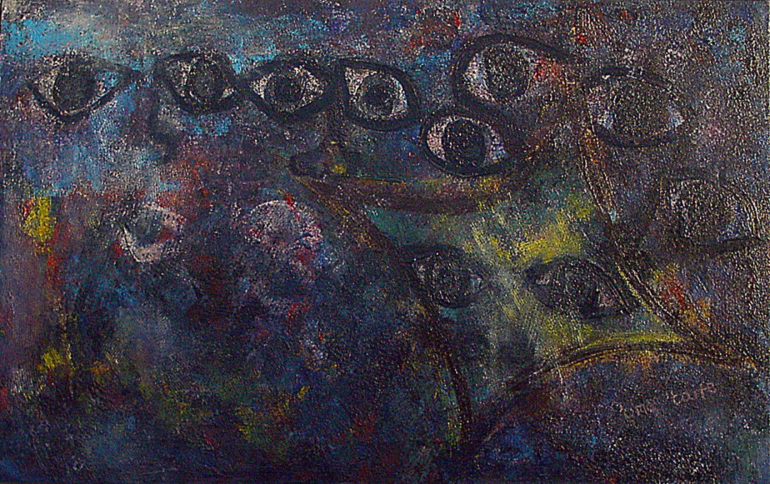"""Amongst those who I never met because they had passed on, long before I came along.""19 of 20 under the theme ""Strange Encounter with the Ancestors"" by 'oma 'taife. Medium and Technique: ""oil on talking canvas"" Exhibition premier: Galerie Goethe 53, Munich 1992. Copyright  © 2018 'oma 'taife. All rights reserved."
