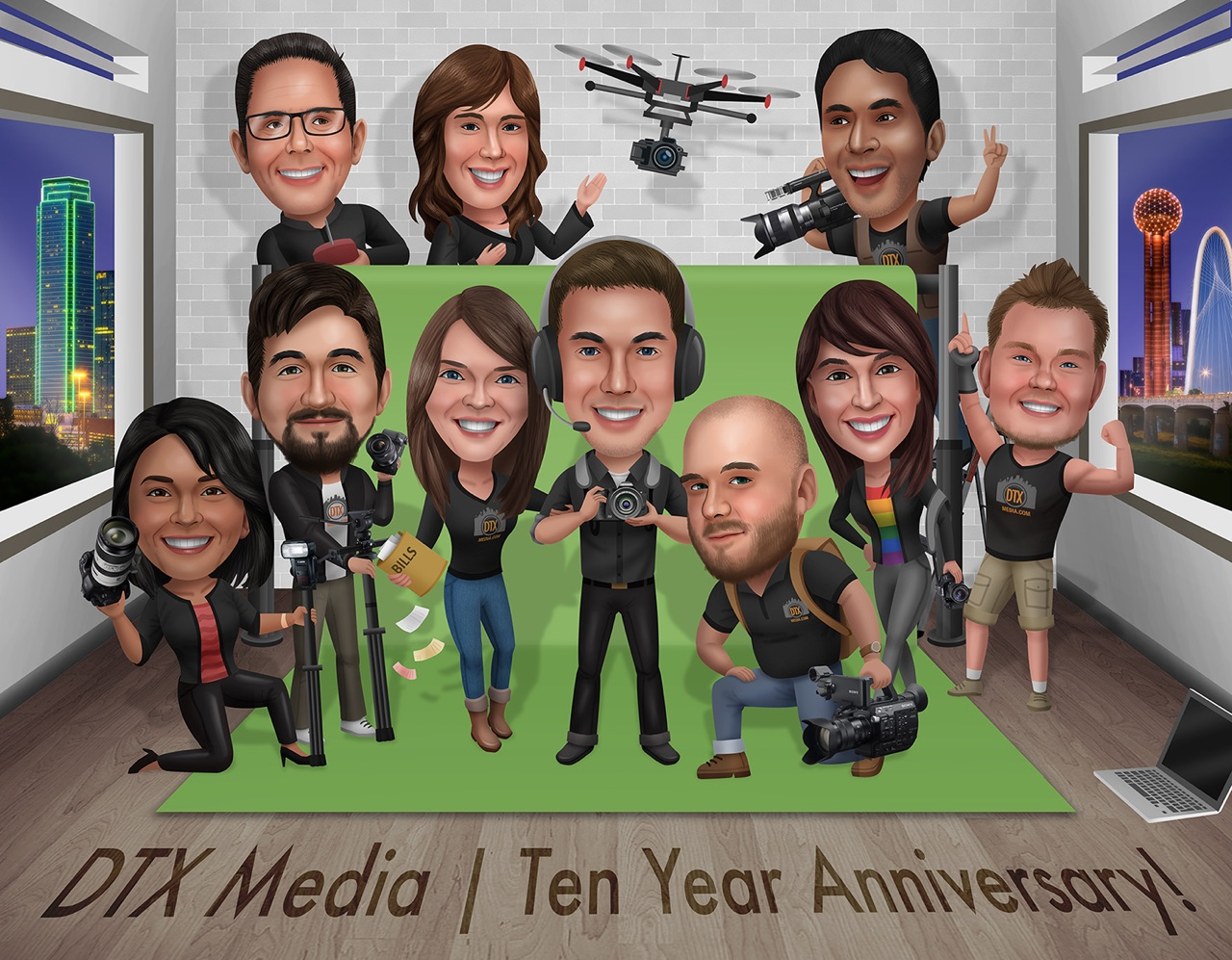 An animated/ cartoon picture of group of Dallas photographers and videographers for the firm DTX Media, LLC