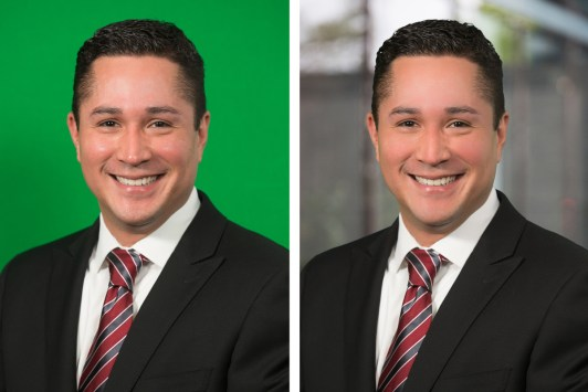 a man side by side with a green background and an environmental background