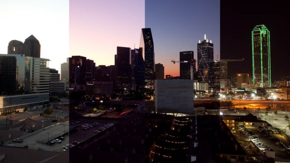 A picture of the Dallas, Texas skyline broken into 4 parts each showing a different time of day to illustrate a time-lapse.