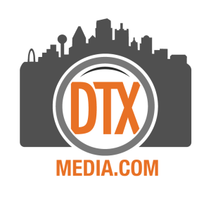 DTX Media Logo. A camera with a skyline on top and DTX inside the lens
