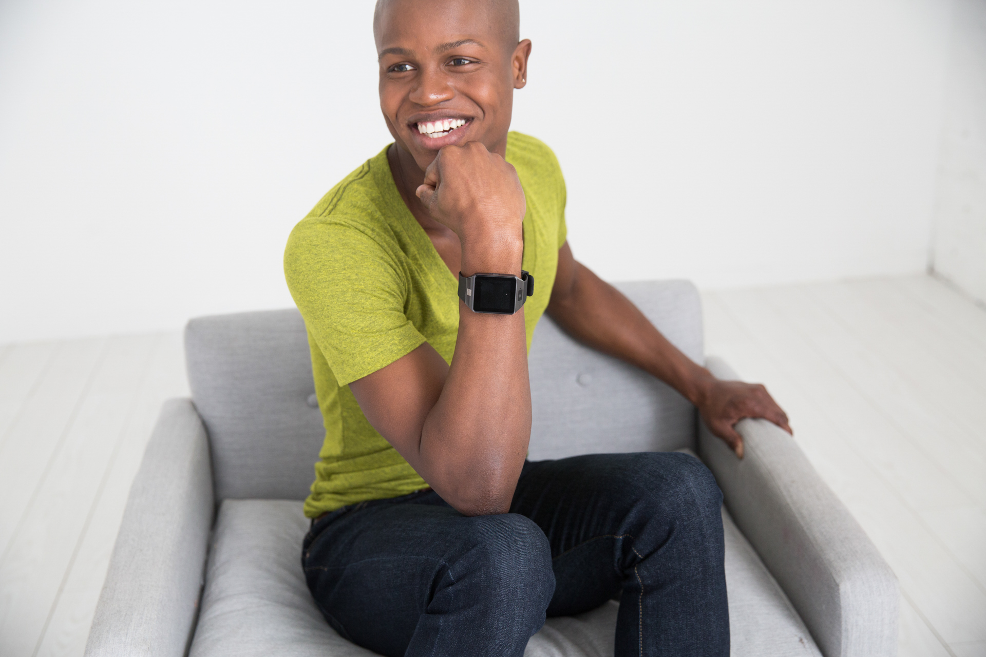 Man modeling smart watch product