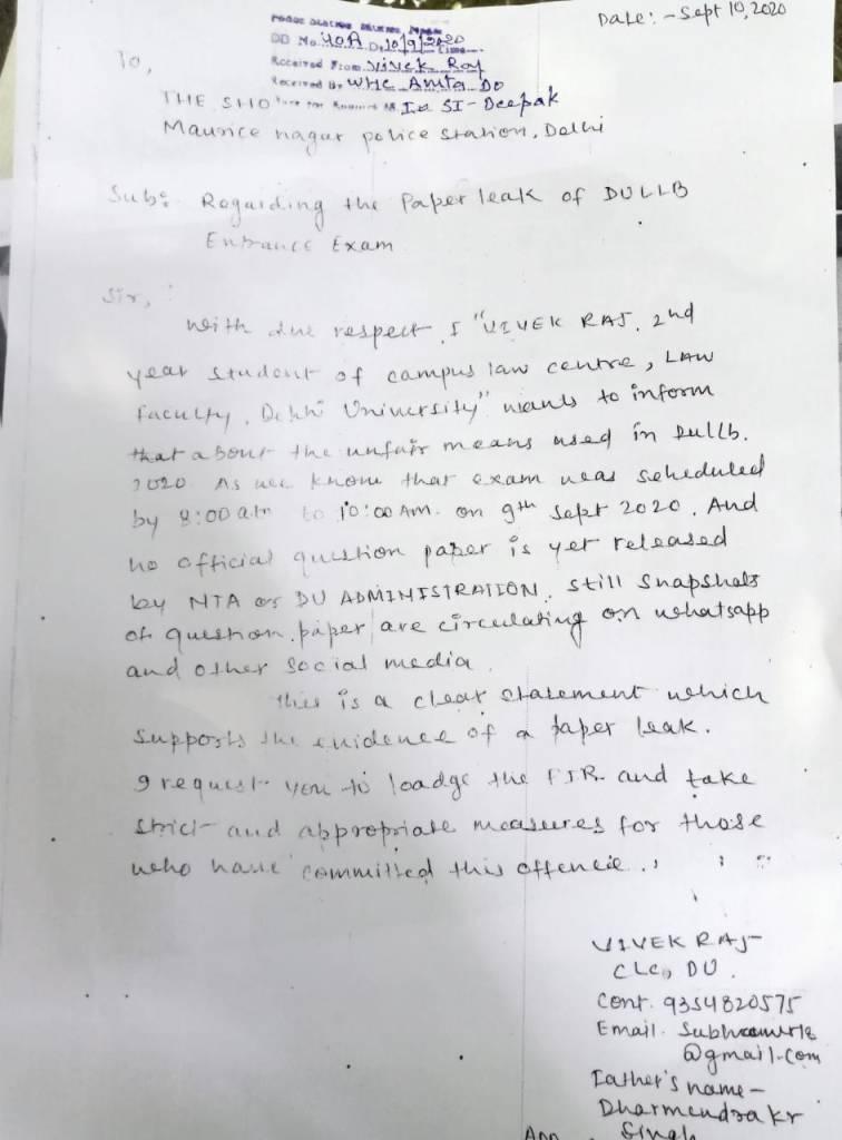 DU Law Paper leaked