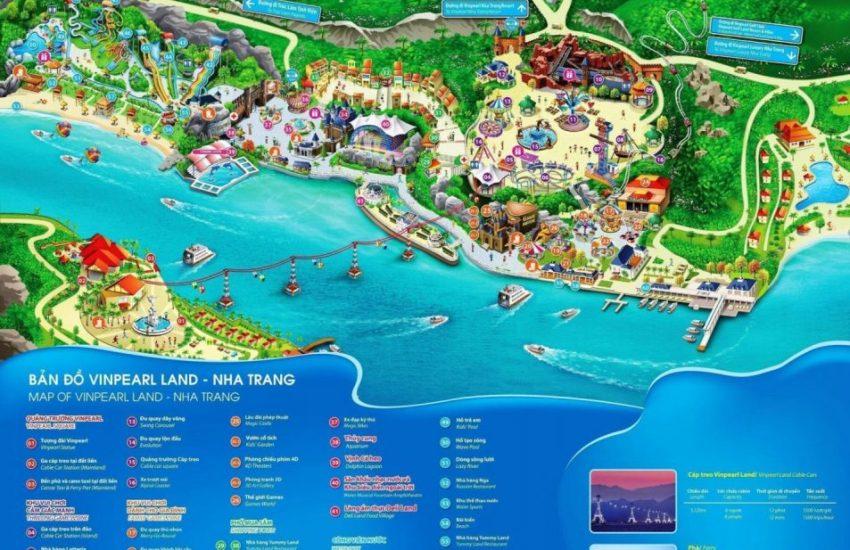 Bản đồ các khu vui chơi giải trí và tắm biển, khu nghỉ dưỡng tại Vinpearl Land Nha Trang