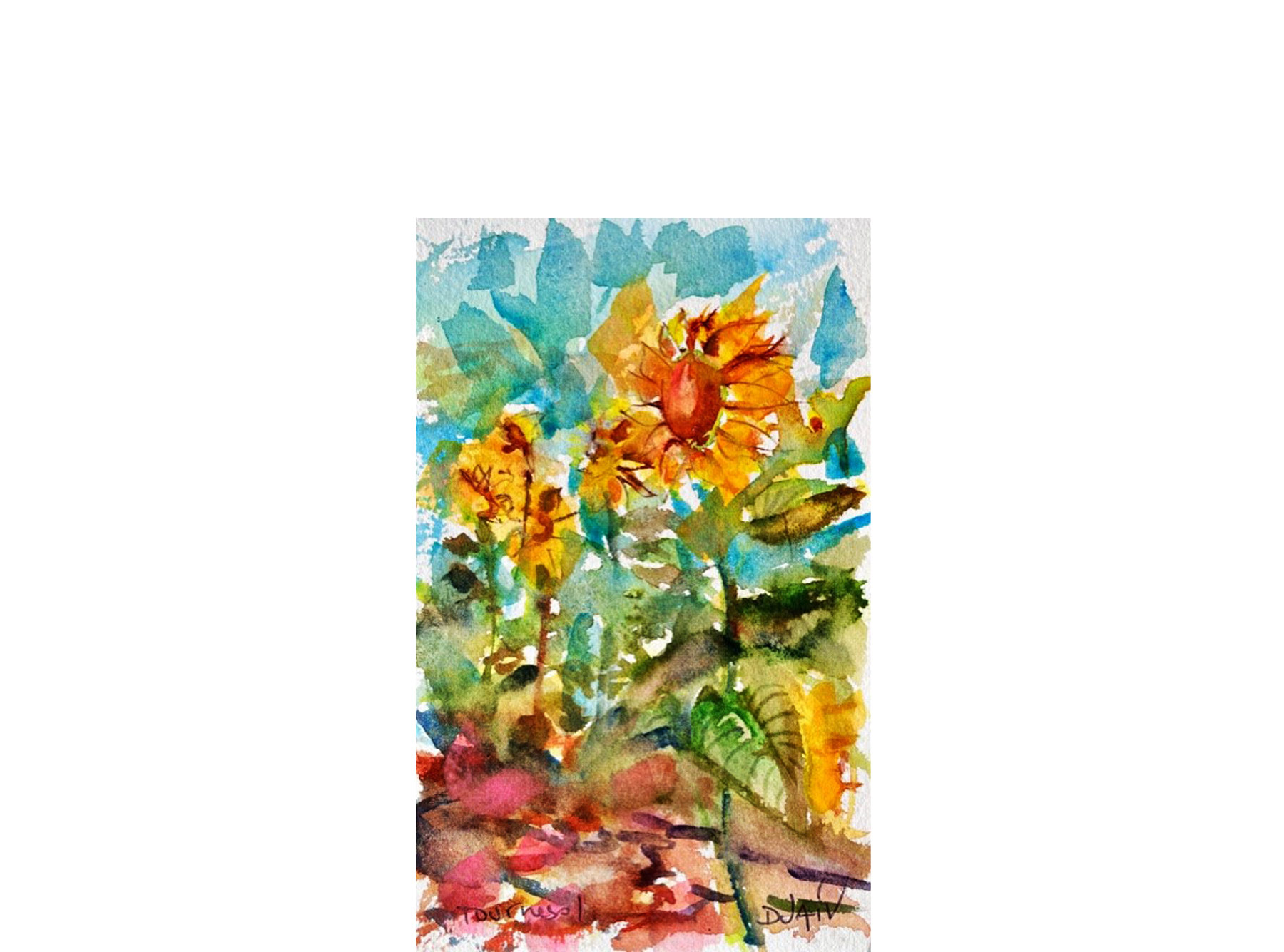 Fleurs De Tournesols 7'' x 4.5''