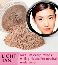 Light tan: Medium complexions with pink and/or neutral undertones.