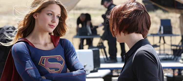 """""""Stronger Together"""" -- When Kara's attempts to help National City don't go according to plan, she must put aside the doubts that she -- and the city's media -- has about her abilities in order to capture an escapee from the Kryptonian prison, Fort Rozz, when SUPERGIRL moves to its regular time period, Monday, Nov. 2 (8:00-9:00 PM, ET/PT) on the CBS Television Network. Pictured left to right: Melissa Benoist and Chyler Leigh  Photo: Cliff Lipson/CBS  ©2015 CBS Broadcasting, Inc. All Rights Reserved"""