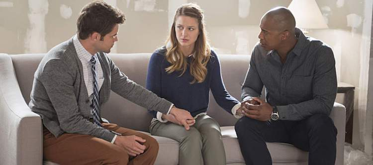 """""""Blood Bonds"""" -- With Astra in captivity at the DEO, her husband, Non (Chris Vance), captures Hank, leading to a tense standoff between the two sides. Also, Kara continues to refute Cat's allegations that she is Supergirl, on SUPERGIRL, Monday, Jan. 4 (8:00-9:00 PM) on the CBS Television Network. Pictured left to right: Jeremy Jordan, Melissa Benoist and Mehcad Brooks Photo: Erica Parise/Warner Bros. Entertainment Inc. © 2015 WBEI. All rights reserved."""